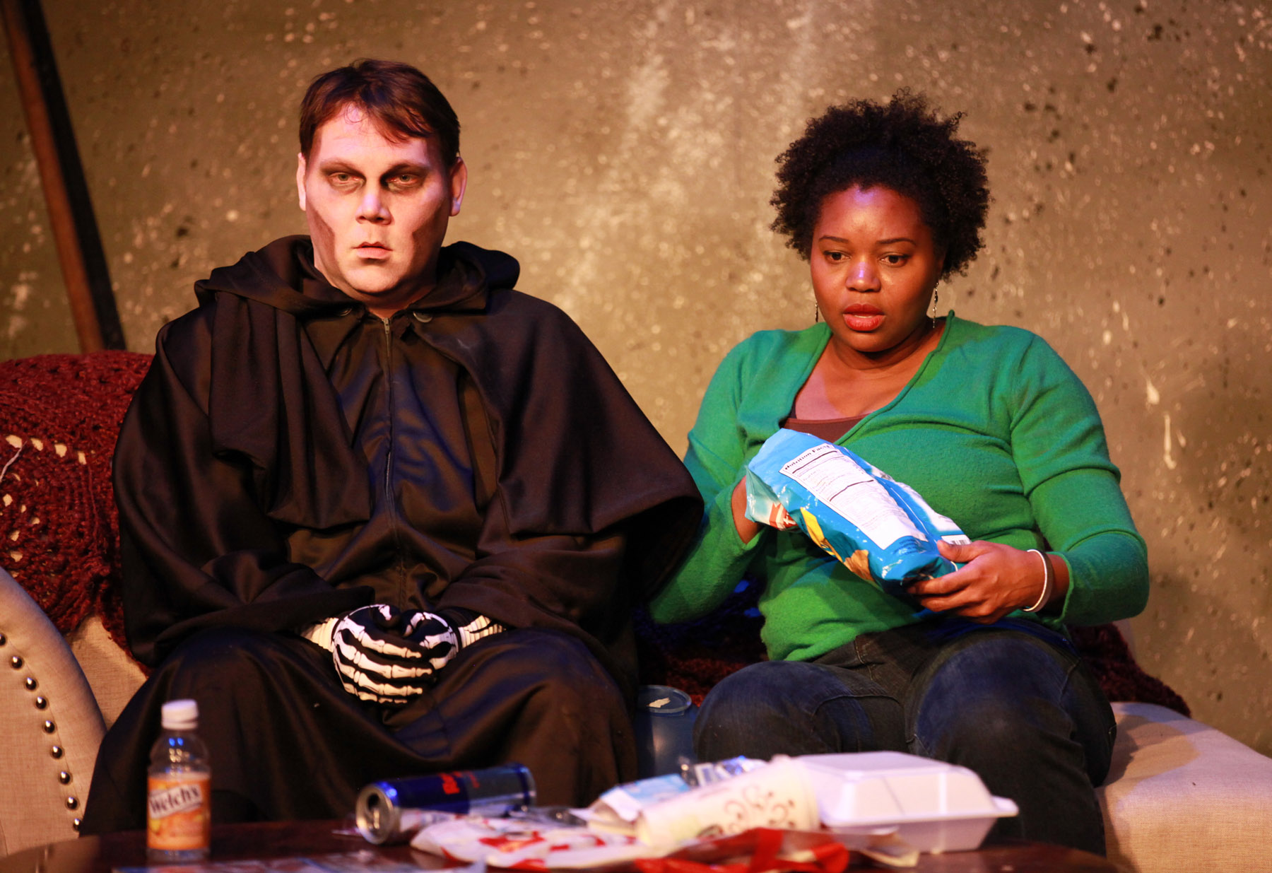 Chris Cinereski (left) and Shadana Patterson in A Cup Of Souls And One Grim Reaper, Please by Keauna Pierce, directed by Ilesa Duncan, part of Pegasus Theatre Chicago's 29th Young Playwrights Festival.