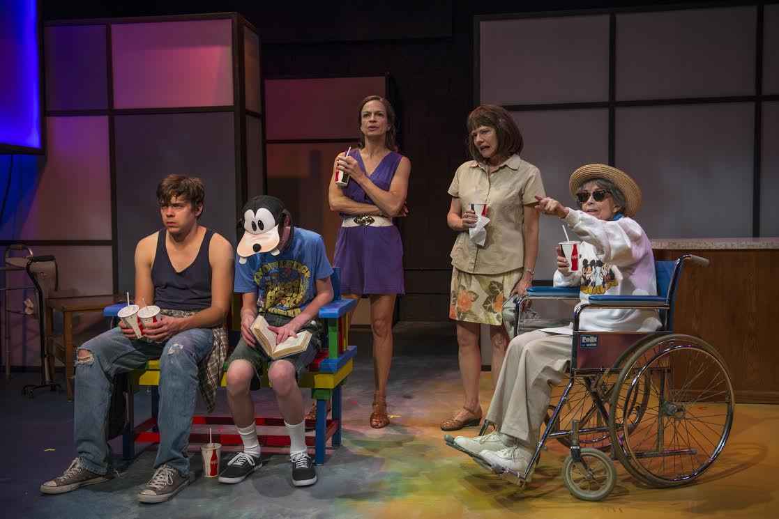 (left to right) Nate Santana, Kyle Klein II, Rebecca Jordan, Linda Reiter and Deanna Dunagan in Shattered Globe Theatre's 25 anniversary production of MARVIN'S ROOM by Scott McPherson, directed by Sandy Shinner. Photo by Michael Brosilow.